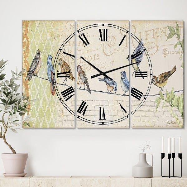 Designart 'Birds Gathered On Wire Paris III' Oversized Cottage Wall Clock - 3 Panels - 36 in. wide x 28 in. high - 3 Panels
