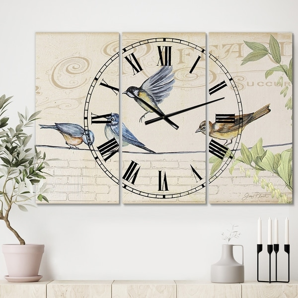 Designart 'Birds Gathered On Wire Paris I' Oversized Cottage Wall Clock - 3 Panels - 36 in. wide x 28 in. high - 3 Panels
