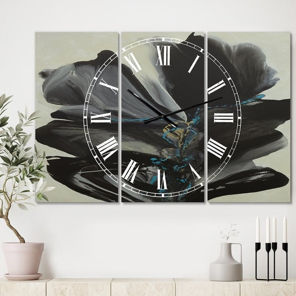 Designart 'Many Shades of Gray 2' Oversized Modern Wall Clock - 3 Panels - 36 in. wide x 28 in. high - 3 Panels