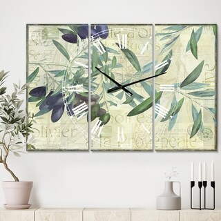 Designart 'Olives de Nyons' Large Cottage Wall Clock - 3 Panels - 36 in. wide x 28 in. high - 3 Panels