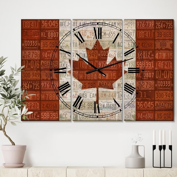 Designart 'Canada License Plate Flag' Large Traditional Wall Clock - 3 Panels - 36 in. wide x 28 in. high - 3 Panels