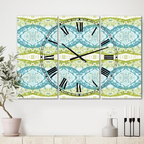 Designart 'Embossed Teal Pattern IV' Large Mid-Century Wall Clock - 3 Panels - 36 in. wide x 28 in. high - 3 Panels