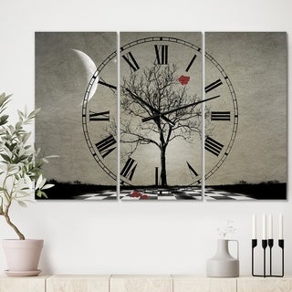 Designart 'Inevitable' Large Cottage Wall Clock - 3 Panels - 36 in. wide x 28 in. high - 3 Panels