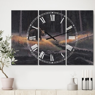Designart 'The Guardian' Large Traditional Wall Clock - 3 Panels - 36 in. wide x 28 in. high - 3 Panels
