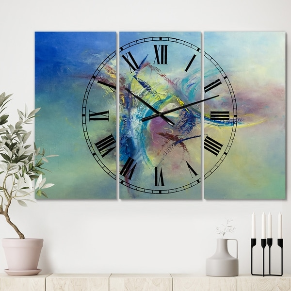Designart 'Focused Intention' Large Modern Wall Clock - 3 Panels - 36 in. wide x 28 in. high - 3 Panels