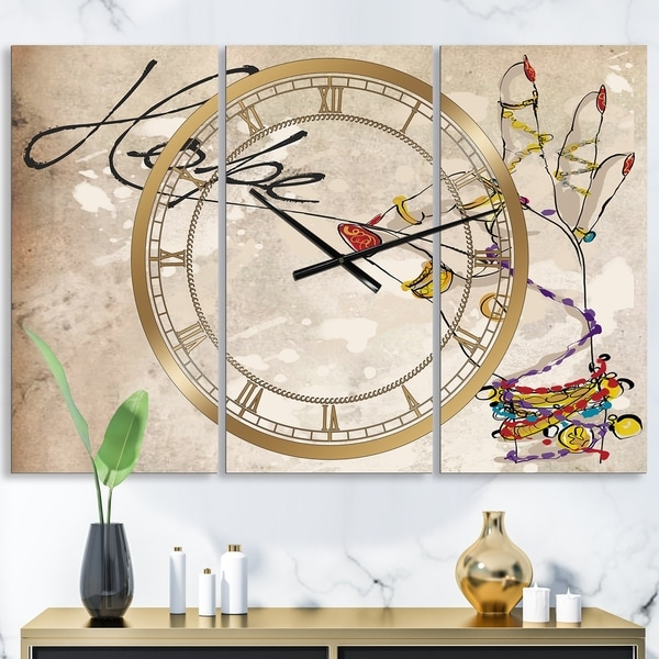 Designart 'Gypsy Hippy Hand Hope' Oversized Cottage Wall Clock - 3 Panels - 36 in. wide x 28 in. high - 3 Panels