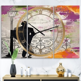 Designart 'Waiting In Paris' Oversized Traditional Wall Clock - 3 Panels - 36 in. wide x 28 in. high - 3 Panels