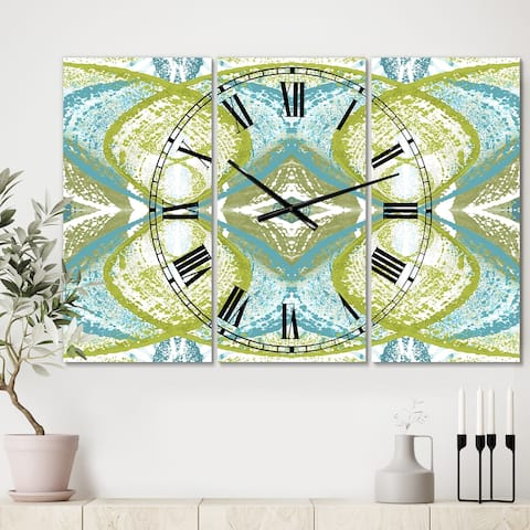 Designart 'Green Vision' Oversized Mid-Century Wall Clock - 3 Panels - 36 in. wide x 28 in. high - 3 Panels