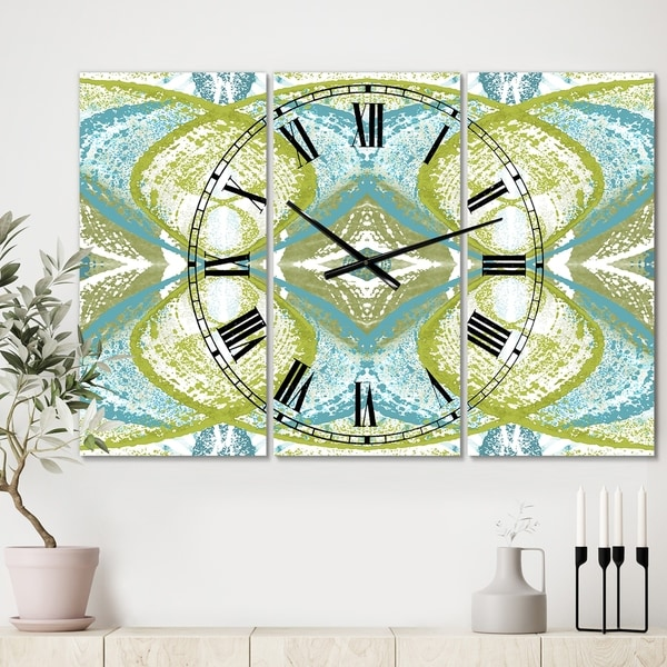 Designart 'Green Vision' Oversized Mid-Century Wall Clock - 3 Panels - 36 in. wide x 28 in. high - 3 Panels. Opens flyout.