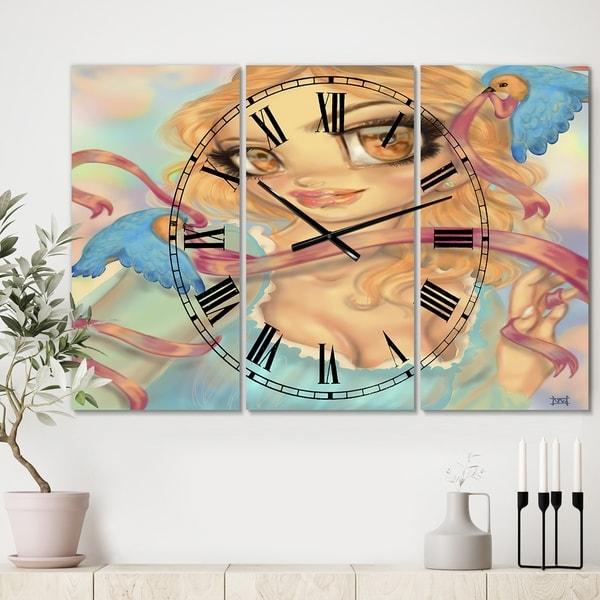 Designart 'Cinderella' Oversized Modern Wall Clock - 3 Panels - 36 in. wide x 28 in. high - 3 Panels
