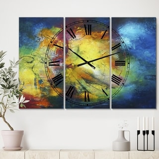 Designart 'Birth of a Star' Large Modern Wall Clock - 3 Panels - 36 in. wide x 28 in. high - 3 Panels