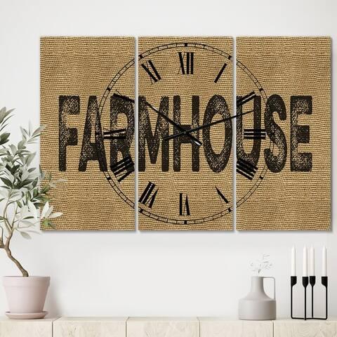 Designart 'Farmhouse On Jute' Oversized Farmhouse Wall Clock - 3 Panels - 36 in. wide x 28 in. high - 3 Panels