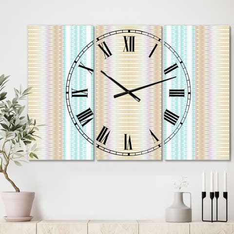 Designart 'Baby Blue and Brown' Oversized Mid-Century Wall Clock - 3 Panels - 36 in. wide x 28 in. high - 3 Panels