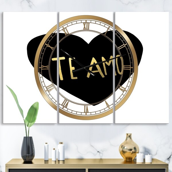 Designart 'Te Amo' Large Glam Wall Clock - 3 Panels - 36 in. wide x 28 in. high - 3 Panels
