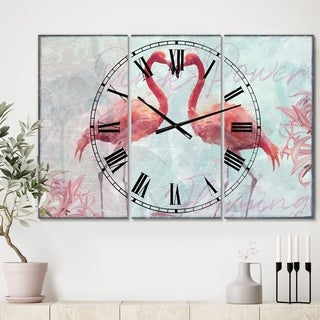 Designart 'Flamingo Power' Oversized Cottage Wall Clock - 3 Panels - 36 in. wide x 28 in. high - 3 Panels