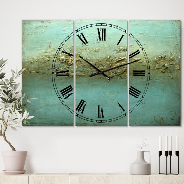 Designart 'Rocky Shoals' Oversized Modern Wall Clock - 3 Panels - 36 in. wide x 28 in. high - 3 Panels