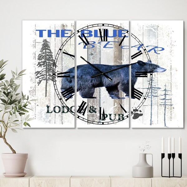 Designart 'The Blue Bear' Large Cottage Wall Clock - 3 Panels - 36 in. wide x 28 in. high - 3 Panels