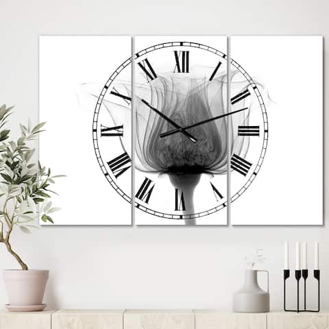 Designart 'Rose ,Noma X-Ray' Oversized Cottage Wall Clock - 3 Panels - 36 in. wide x 28 in. high - 3 Panels