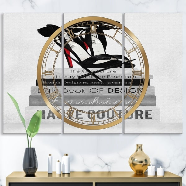 Designart 'Fashionista Reads 3' Large Fashion Wall Clock - 3 Panels - 36 in. wide x 28 in. high - 3 Panels