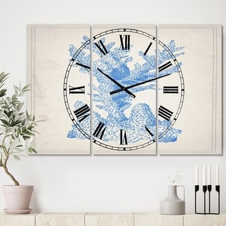 Designart 'Blue Coral 1' Large Nautical & Coastal Wall Clock - 3 Panels - 36 in. wide x 28 in. high - 3 Panels