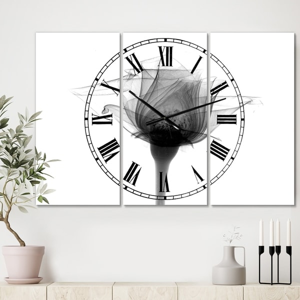Designart 'Rose #10 X-Ray' Large Cottage Wall Clock - 3 Panels - 36 in. wide x 28 in. high - 3 Panels