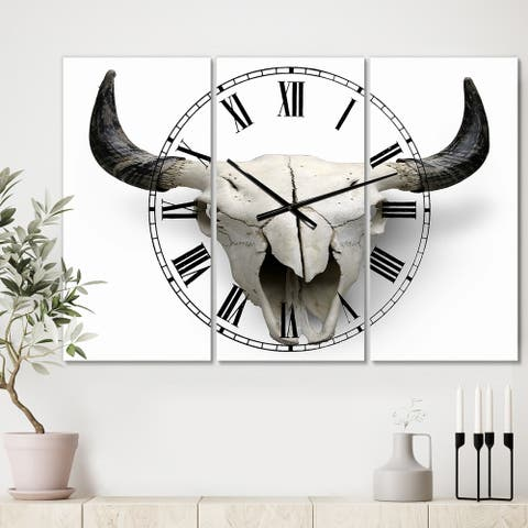 Designart 'White Cow Skull with Black Horns' Oversized Farmhouse Wall Clock - 3 Panels - 36 in. wide x 28 in. high - 3 Panels
