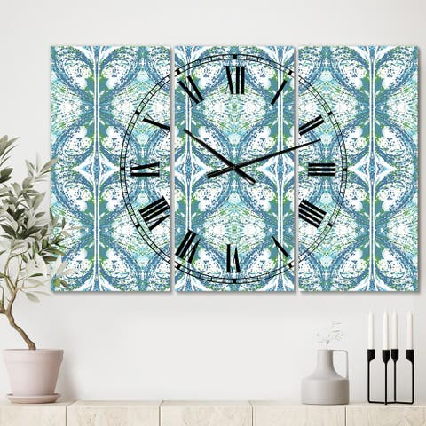 Designart 'Embossed Teal Pattern V' Large Mid-Century Wall Clock - 3 Panels - 36 in. wide x 28 in. high - 3 Panels
