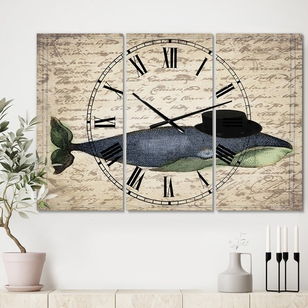 Designart 'Old Style Whale With Hat' Oversized Nautical & Coastal Wall Clock - 3 Panels - 36 in. wide x 28 in. high - 3 Panels