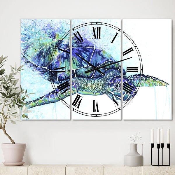 Designart 'Sea Turtle' Oversized Cottage Wall Clock - 3 Panels - 36 in. wide x 28 in. high - 3 Panels