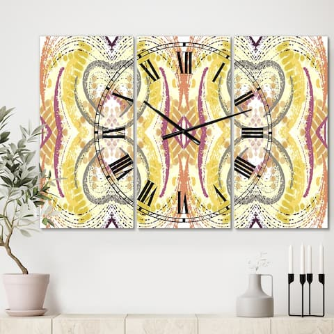 Designart 'Yellow and Purple Heart Pattern' Oversized Mid-Century Wall Clock - 3 Panels - 36 in. wide x 28 in. high - 3 Panels