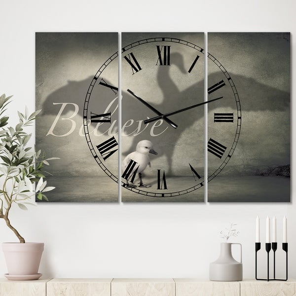 Designart 'Believe Shadow IV' Large Cottage Wall Clock - 3 Panels - 36 in. wide x 28 in. high - 3 Panels