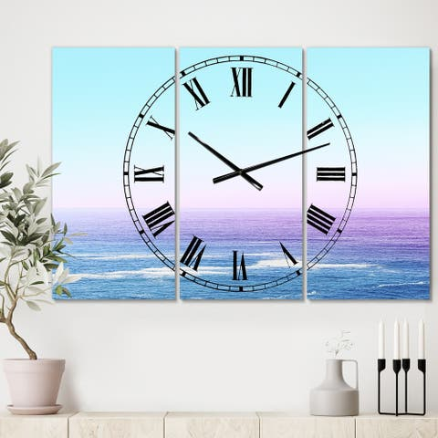 Designart 'Ocean View' Large Nautical & Coastal Wall Clock - 3 Panels - 36 in. wide x 28 in. high - 3 Panels