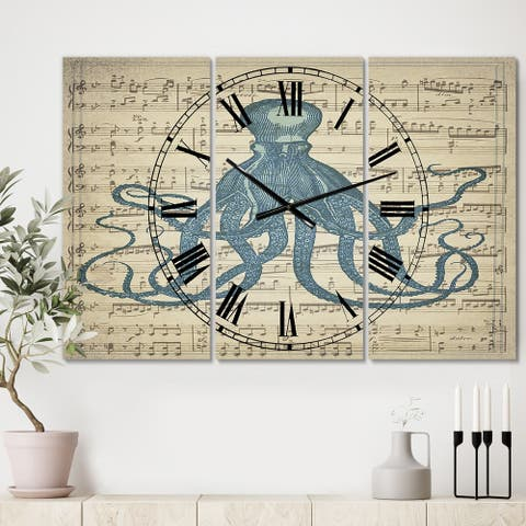 Designart 'Octopus Music Score II' Large Nautical & Coastal Wall Clock - 3 Panels - 36 in. wide x 28 in. high - 3 Panels