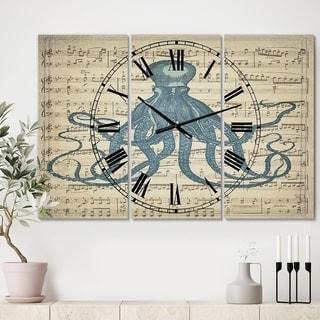 Designart 'Octopus Music Score II' Large Nautical & Coastal Wall Clock - 3 Panels - 36 in. wide x 28 in. high - 3 Panels