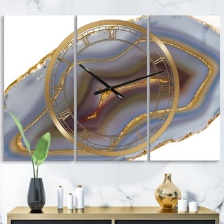 Designart 'Golden Core Agate' Oversized Fashion Wall Clock - 3 Panels - 36 in. wide x 28 in. high - 3 Panels