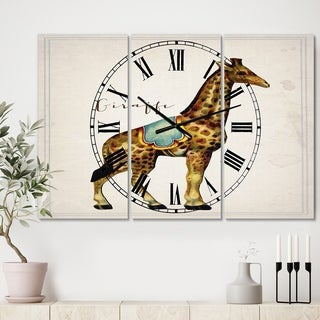 Designart 'Circus Animals Giraffe' Large Cottage Wall Clock - 3 Panels - 36 in. wide x 28 in. high - 3 Panels