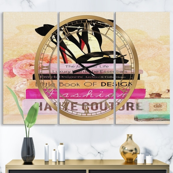 Designart 'Fashionista Reads 2' Oversized Fashion Wall Clock - 3 Panels - 36 in. wide x 28 in. high - 3 Panels