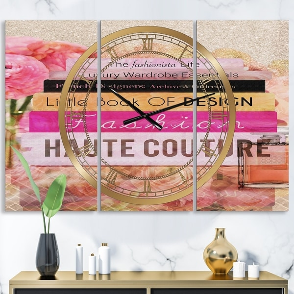 Designart 'Fashionista Reads' Oversized Fashion Wall Clock - 3 Panels - 36 in. wide x 28 in. high - 3 Panels