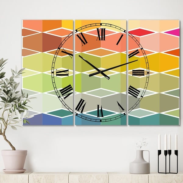 Designart 'Flanneur (Square)' Oversized Mid-Century Wall Clock - 3 Panels - 36 in. wide x 28 in. high - 3 Panels. Opens flyout.