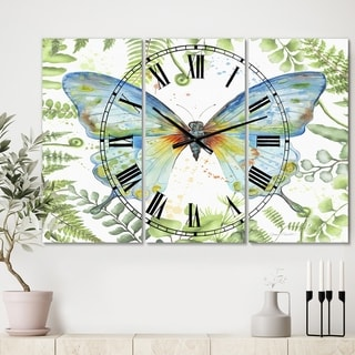 Porch & Den [Clock] Botanical Butterfly Beauty 1' Large 3-panel Wall Clock - 36 in. wide x 28 in. high - 3 Panels