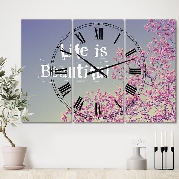 Designart 'Life Is Beautiful' Oversized Cottage Wall Clock - 3 Panels - 36 in. wide x 28 in. high - 3 Panels