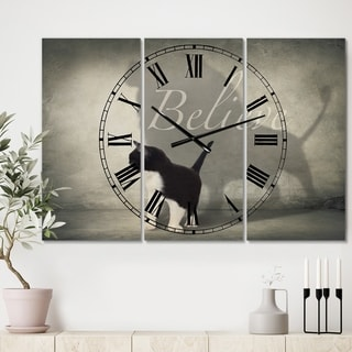 Designart 'Believe Shadow I' Oversized Cottage Wall Clock - 3 Panels - 36 in. wide x 28 in. high - 3 Panels