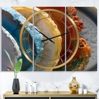 Designart 'Mineral Slice XV' Large Fashion Wall Clock - 3 Panels - 36 in. wide x 28 in. high - 3 Panels