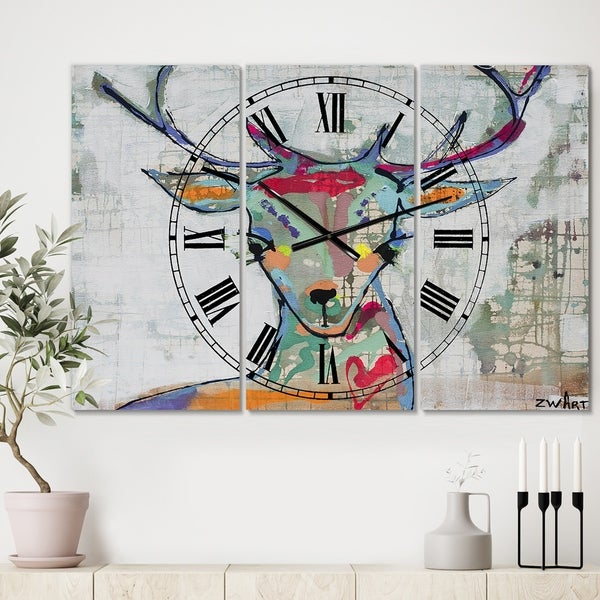 Designart 'Colorful Deer I' Large Cottage Wall Clock - 3 Panels - 36 in. wide x 28 in. high - 3 Panels