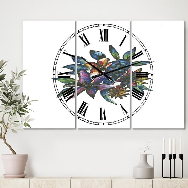 Designart 'Tropical Flowers' Large Cottage Wall Clock - 3 Panels - 36 in. wide x 28 in. high - 3 Panels