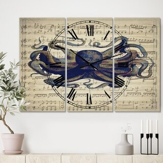 Designart 'Octopus Music Score I' Oversized Nautical & Coastal Wall Clock - 3 Panels - 36 in. wide x 28 in. high - 3 Panels