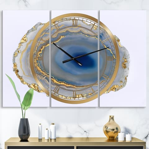 Designart 'Golden Water Agate' Large Fashion Wall Clock - 3 Panels - 36 in. wide x 28 in. high - 3 Panels