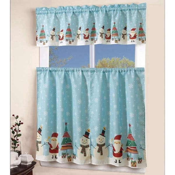 MarCielo 3PCS Christmas Kitchen Window Curtain with Swag and Tier