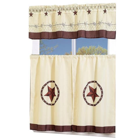 Porch & Den El Dorado Western Star 3-piece Kitchen Window Curtain Set