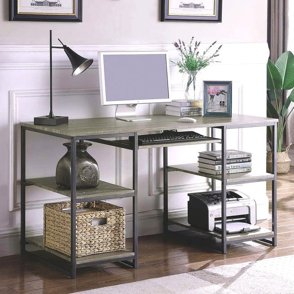 Rustic Modern Industrial Design Home Office Writing Desk With Metal Base